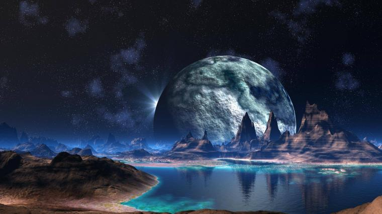 Alien Landscape Planet Stars Lake sci fi space reflection mountains