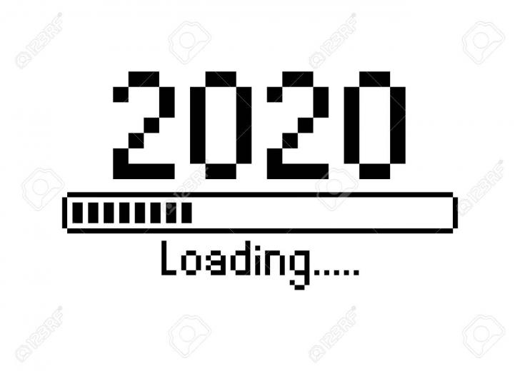 Happy New Year 2020 With Loading Icon Pixel Art Bitmap Style