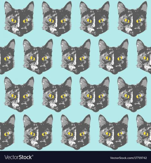 Cats pattern cartoon seamless animal wallpaper Vector Image