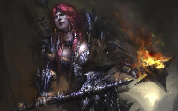 games redheads fantasy art armor barbarian artwork HD Wallpapers