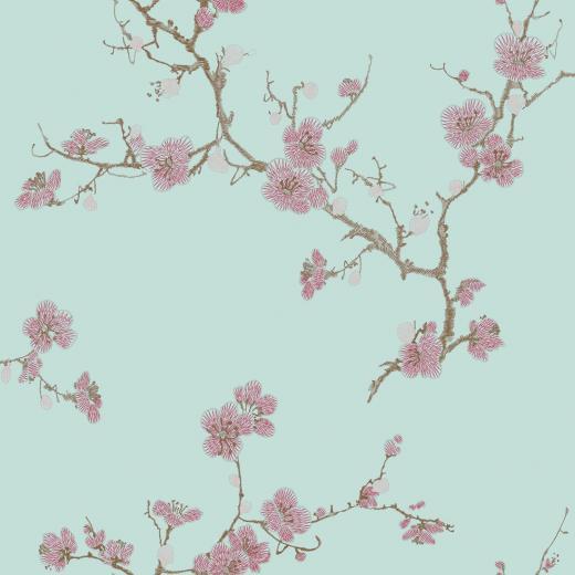 Flower Asian Style Textured Imitate Stitchwork Teal Wallpaper eBay