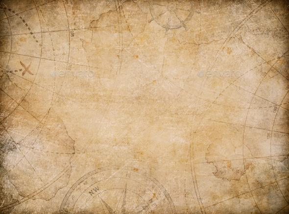 aged treasure map background with compass   Stock Photo