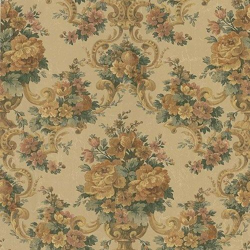 1231cm Wallpaper SAMPLE Floral Brocade on Antique Champagne Gold