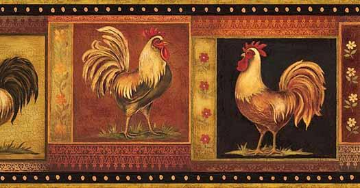 Rooster Wallpaper Border HAH15162B   Wallpaper Border Wallpaper