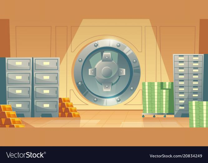 Bank vault background with money gold Royalty Vector