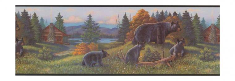 about Black Bear Lodge Wallpaper Border WL5627B rustic log cabin cub