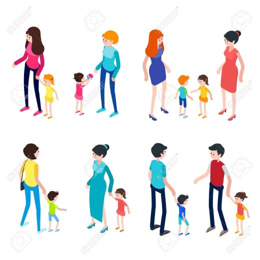 Isometric People Isolated On White Background Young Parents