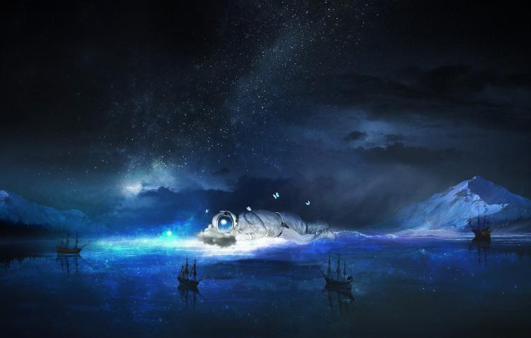 Wallpaper sea the sky water stars night fiction butterfly