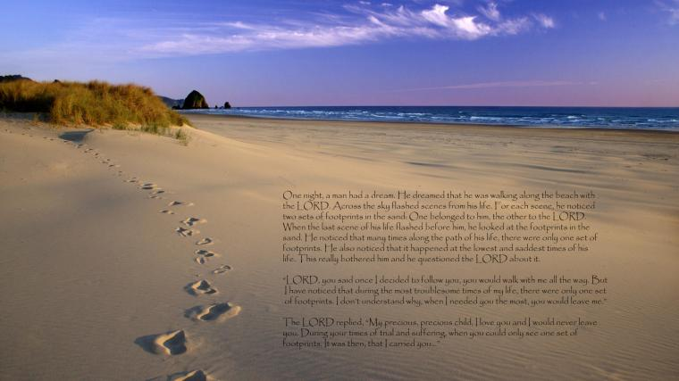 footprints in the sand poem large text only MEMEs