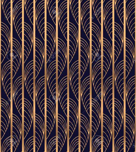 Peacock Feather Luxury Background Vector Gold Waves Pattern