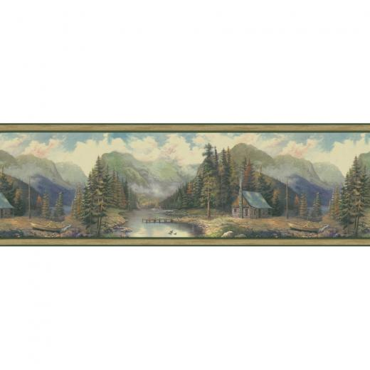 Green Forest Lodge Scenic Prepasted Wallpaper Border at Lowescom