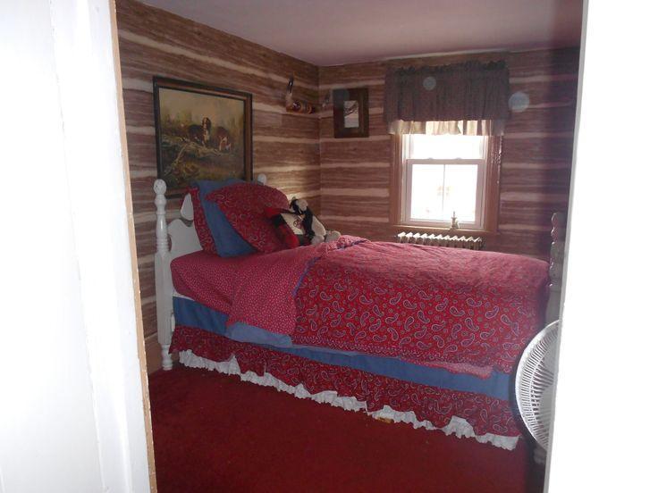 Log cabin wallpaper for sons room Home decor Pinterest