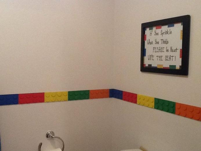 lego bathroomcut wood and circles to make lego border Found lego