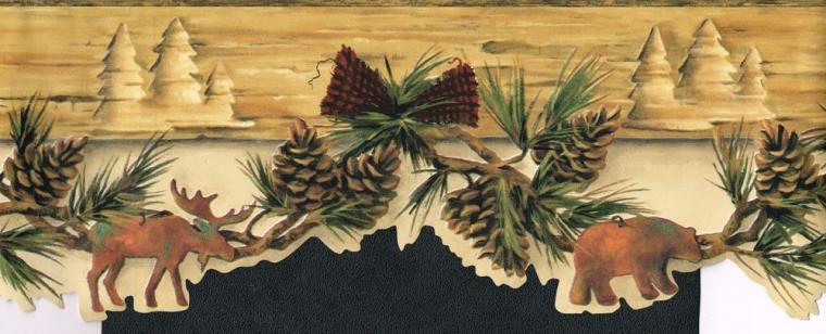 Wallpaper Border Wall Country Moose Bear Amp Pine Cones Needles 6 1 2