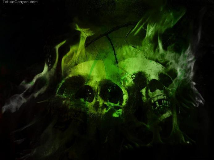 Green Flaming Skulls Wallpaper Picture 6952