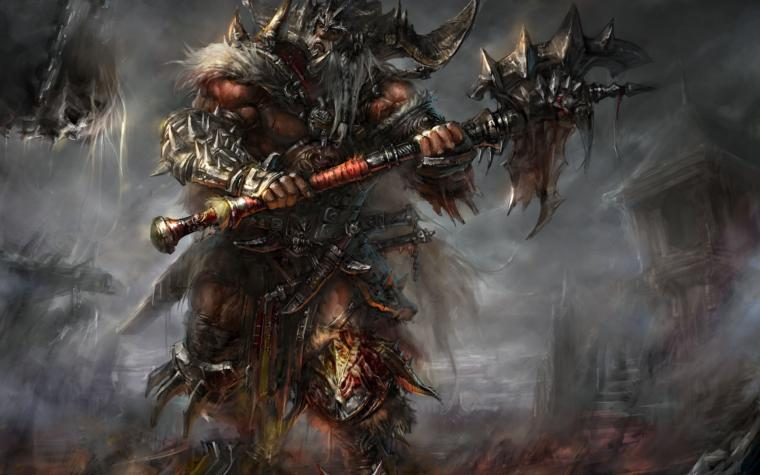 Diablo barbarian armor blood horns spikes ax undead warriors wallpaper