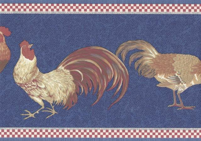Red Blue Roosters Wallpaper Border   Country Folk