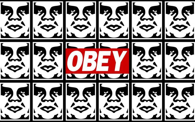 Obey graffiti stencils anarchy humor texts dark sadic wallpaper