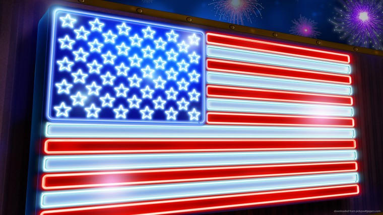 Download 1920x1080 Neon USA Flag Wallpaper