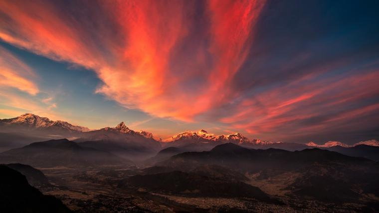 Sunrise Valley Tibet Mountains 2048 x 1152 Download Close