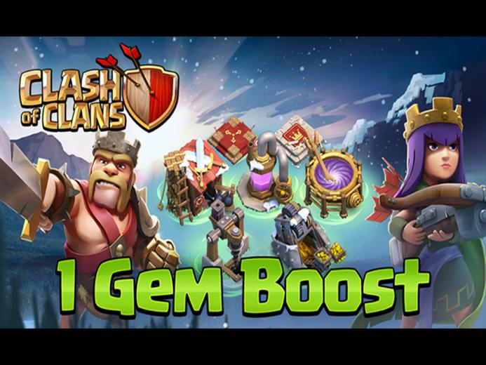Archer Queen and Barbarian King 1 Gem Boost Wallpaper Clash Of Clans