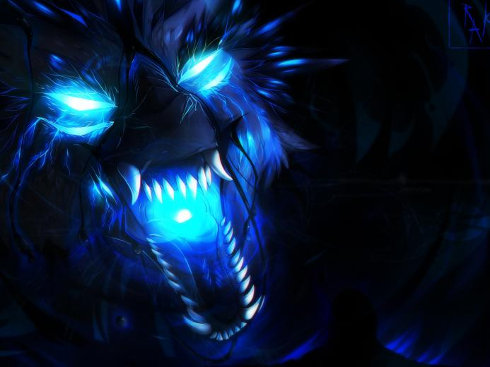 Wallpaper Wolf blue flame art picture 3840x2160 UHD 4K Picture