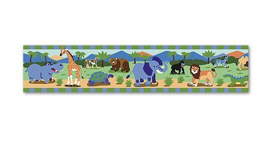 Safari Jungle Kids Wallpaper Border Wild Animals for Boys Green Blue