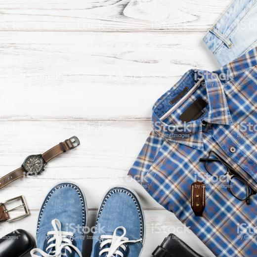 Men Stylish Casual Clothing And Accessories On Wooden Background