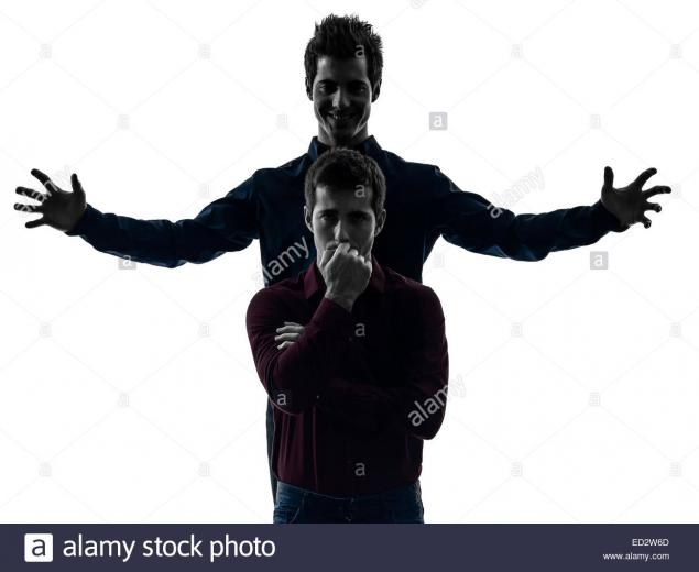 two young men domination concept shadow white background Stock