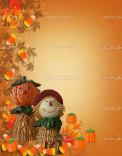 Stock photo of halloween pumpkins on white background with fall leaves