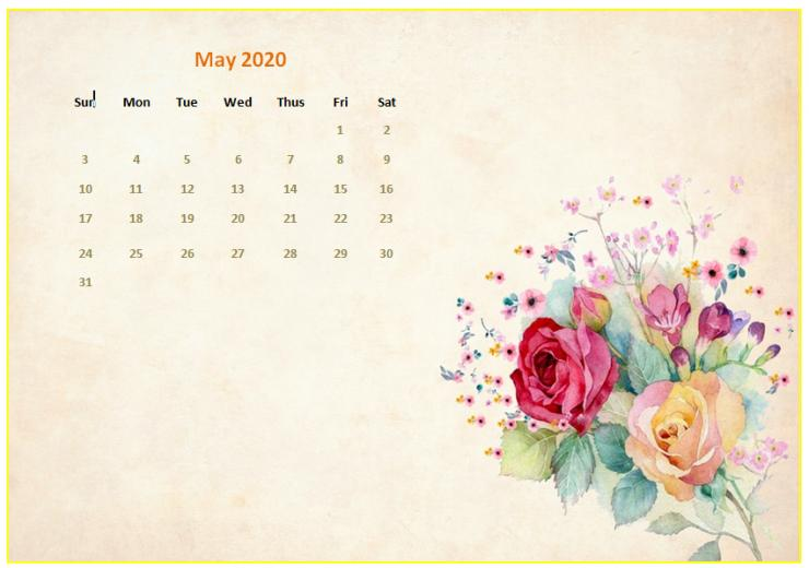 Cute May 2020 Calendar Floral Wall Calendar Design May 2020