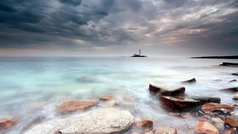 lighthouse on the shore wide desktop background hd wallpapers Car