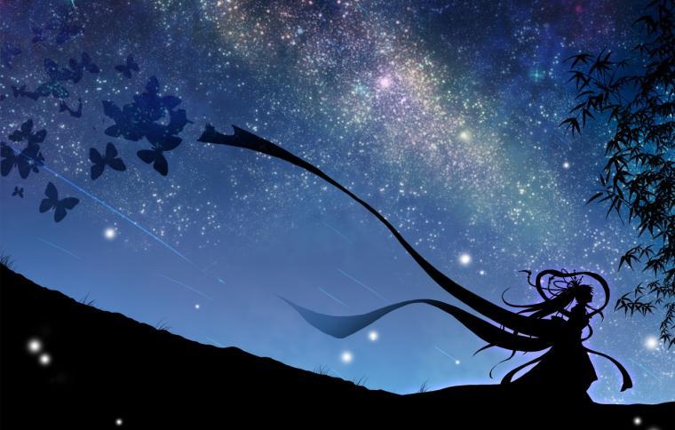 Wallpaper the sky girl stars butterfly night art vocaloid