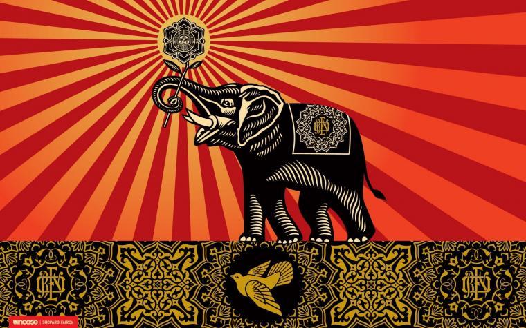 elephants shepard fairey incase 1920x1200 wallpaper Art HD Wallpaper