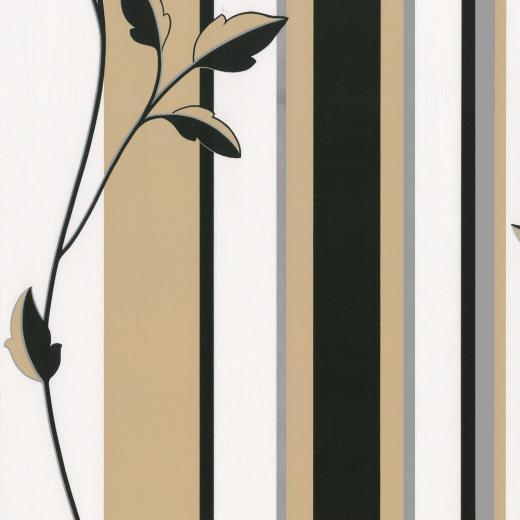 Cream Black Secondary Colour Black Gold Design Style Striped