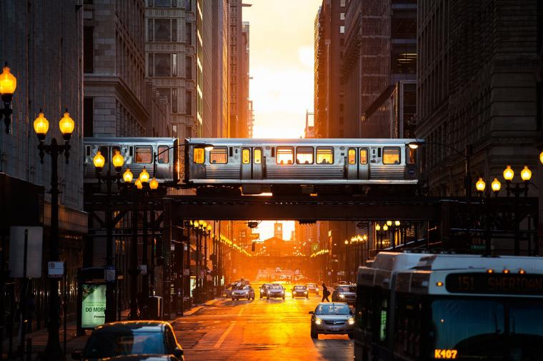 train crosses the street in Chicago wallpapers and images   wallpapers