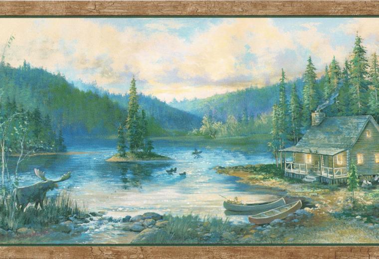 Log Cabin Canoes Ducks Birch Trees Country Wallpaper Wall Border