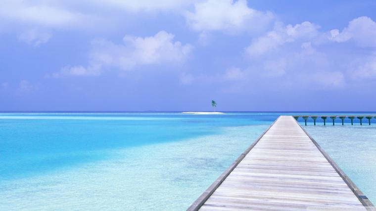 Download Footbridge Over Blue Ocean Wallpaper 1920x1080
