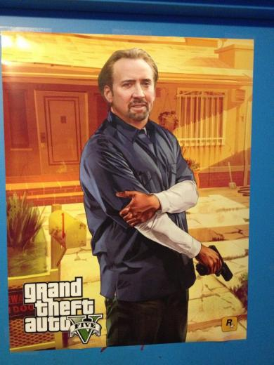 game store near me puts Nicolas Cage faces on many posters