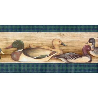 Rolling Borders Ducks Lodge Hunting Birds Wallpaper Border   Green