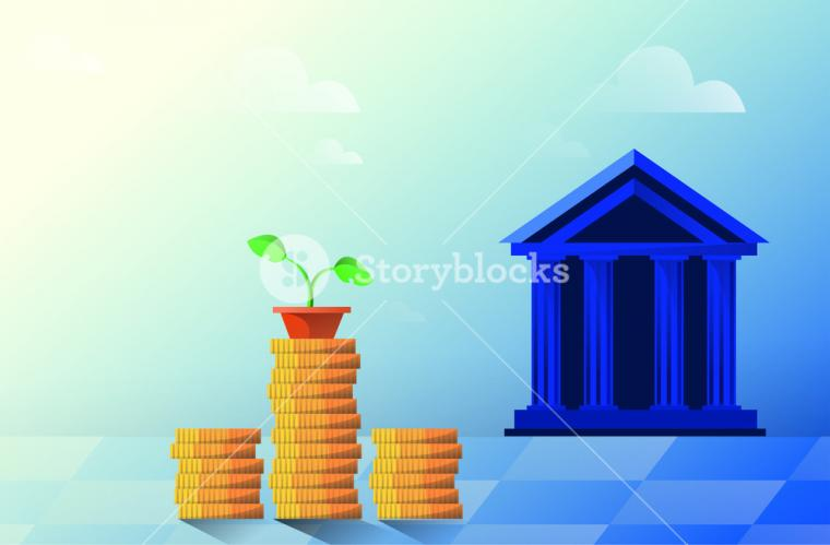 Vector flat illustration bank building on a white background