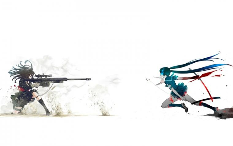 blade sniper rifle anime girls 1920x1200 wallpaper Anime Anime Girl HD