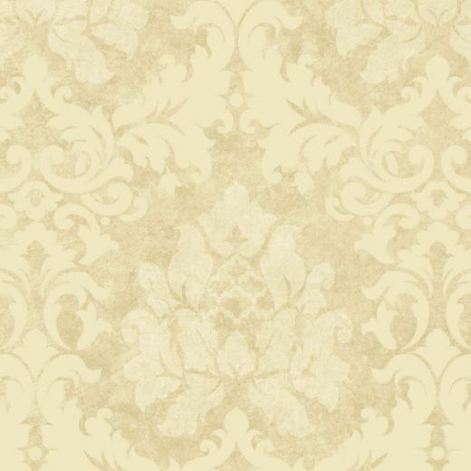 Beige Tan Damask Leaves Wallpaper Traditional Wallpaper   Dark Brown