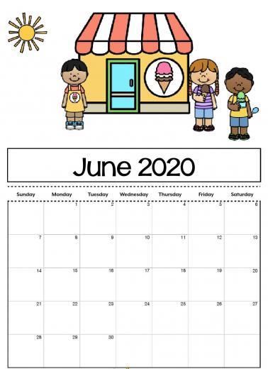 Cute June 2020 Calendar Printable for Kids June 2019 Calendar