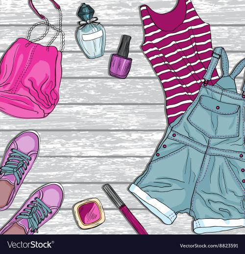 Background with female fashion clothes Royalty Vector