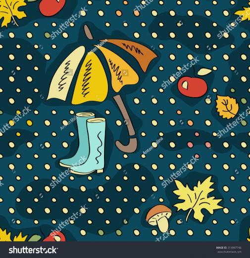 Fall Doodle Wallpaper Autumn Seamless Pattern Stock Vector
