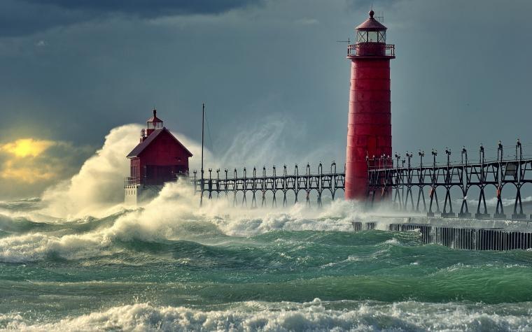 Wallpaper surf waves lighthouse on your desktop Wallpapers