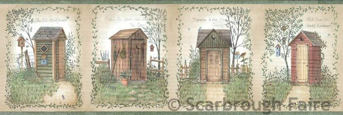 Outhouse Wallpaper Border FFR50321B Linda Spivey country bath decor