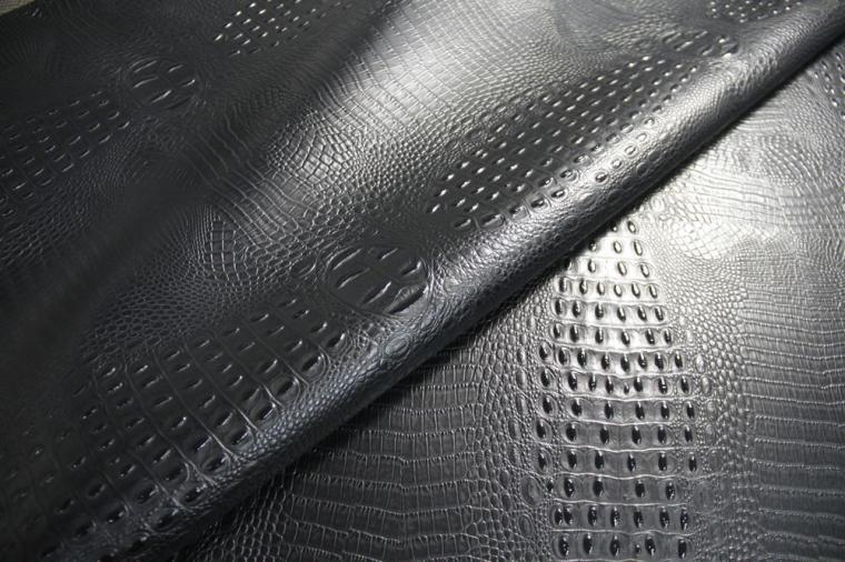 Faux Leather Fabric Embossed Alligator Crocodile Black Upholstery