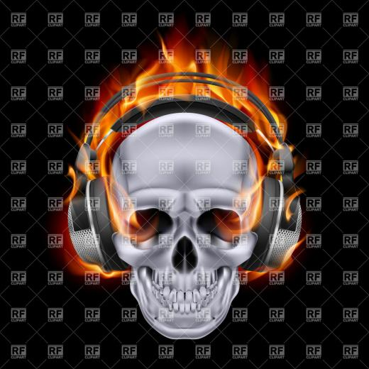 Flaming skull in headphones on black background vector